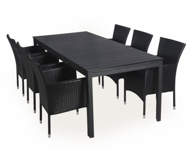 klassisk havemøbelsæt i sort polyrattan